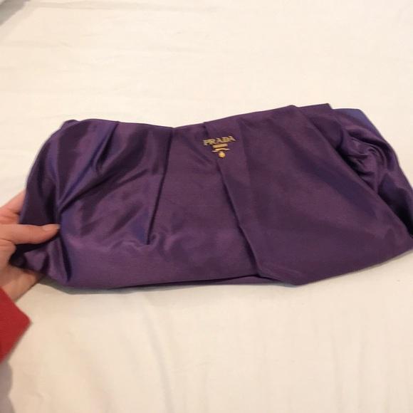 4b370ba8ed78 NWOT Prada Raso Gathered Purple Clutch